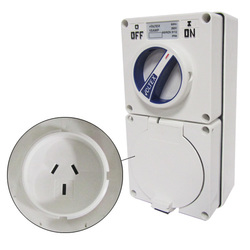 Voltex Switched Socket Outlets - IP66 250V 10A - 3 Flat pins - Chemical Resistant White