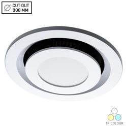 Voltex Round Ceiling Exhaust Fan with 10W LED Light - Tri-Colour - Flush Mounted